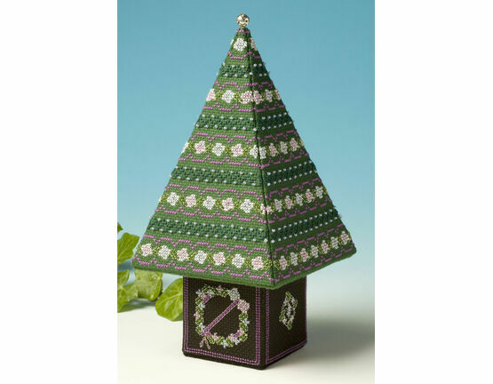 Blue & Silver Tall Tree 3D Cross Stitch Kit