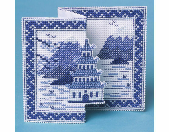 Blue Pagoda 3D Cross Stitch Card Kit