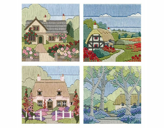 Set Of 4 Cottage Long Stitch Kits
