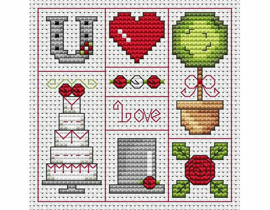 Red Wedding Cross Stitch Card Kit