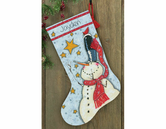 Tall Hat Snowman Stocking Cross Stitch Kit