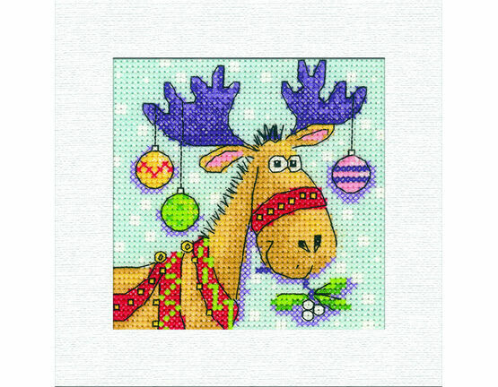 Reindeer Square Christmas Card Cross Stitch Kit