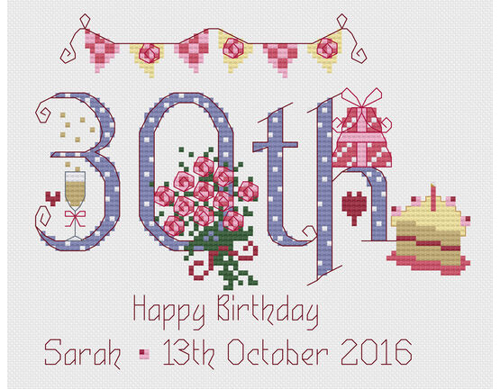 30th Birthday Cross Stitch Kit