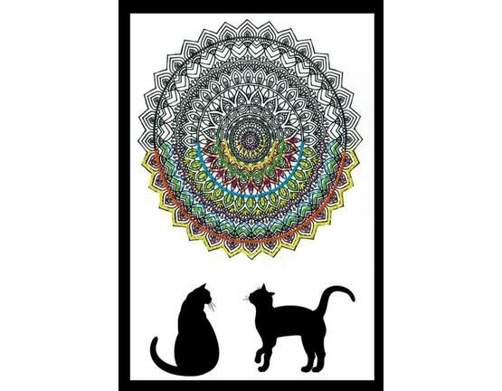 Design Works Cat Mandala - Zenbroidery Fabric Pack