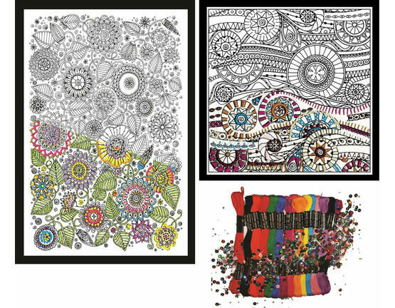 Design Works Zenbroidery Set 2 (2 fabric packs and a cord trim pack)