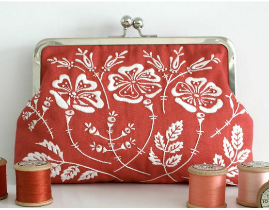Rose Red Embroidered Clutch Bag Kit