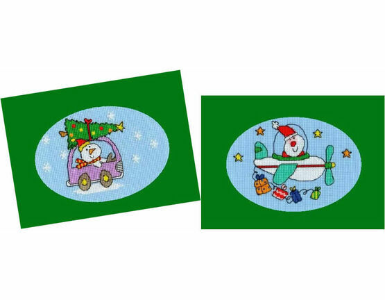 Dashing Through The Snow & Flying Home For Christmas - Set of 2 Cross Stitch Card Kits