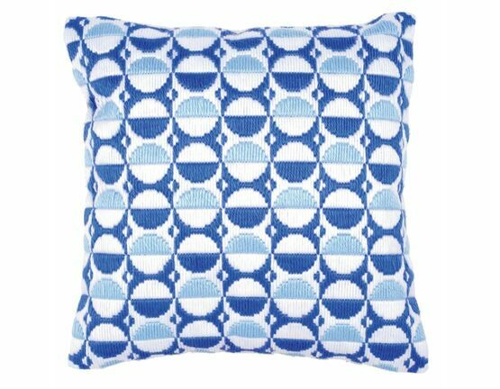 Blue Circles Long Stitch Cushion Panel Kit