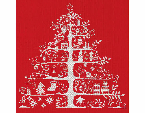 Christmas Tree Red Cross Stitch Kit