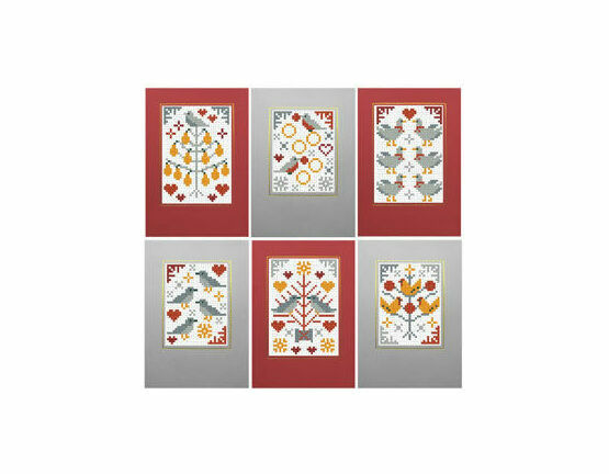 Five Gold Rings Cross Stitch Christmas Card Kits (set of 6)