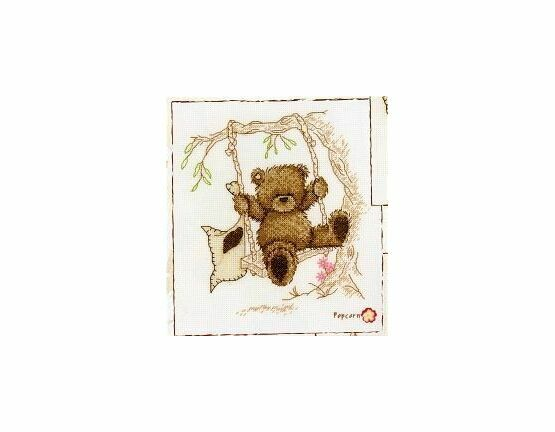 Popcorn Bear The Rope Swing Cross Stitch Kit