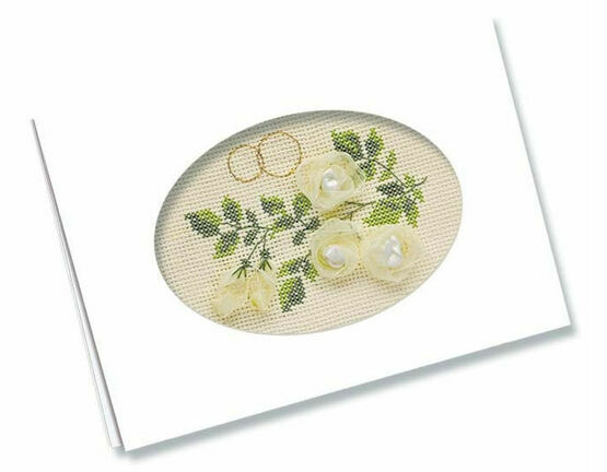 Wedding Card Cross Stitch Kit with Ribbons