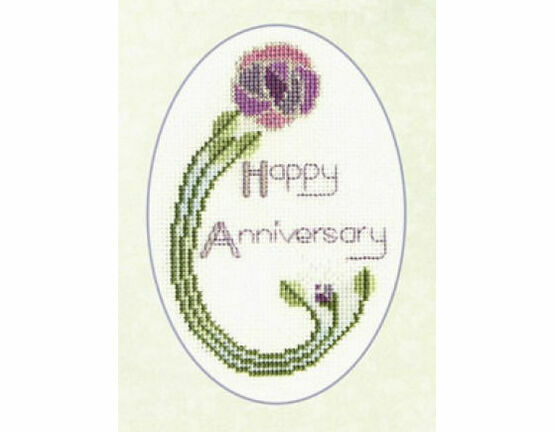 Mackintosh Rose Anniversary Cross Stitch Card Kit