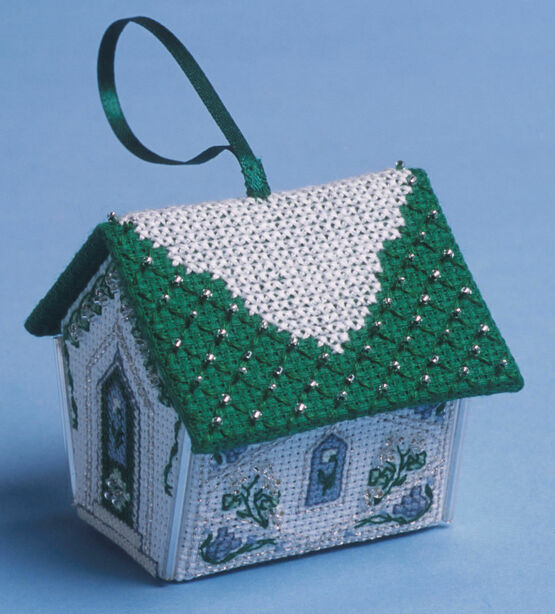 Green & Silver Gingerbread House 3D Cross Stitch Kit