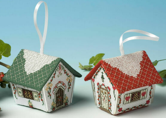 Gingerbread House Double Pack 3D Cross Stitch Pack (Crimson Hearts & Silver Bells)