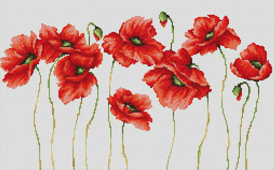 Eleven Poppies Cross Stitch Kit