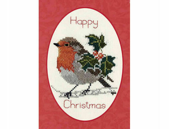 Holly & Robin Christmas Cross Stitch Card Kit