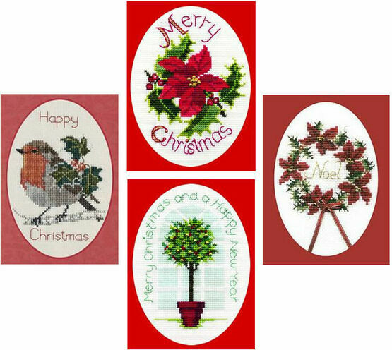 Holly Collection Set Of 4 Christmas Card Cross Stitch Kits