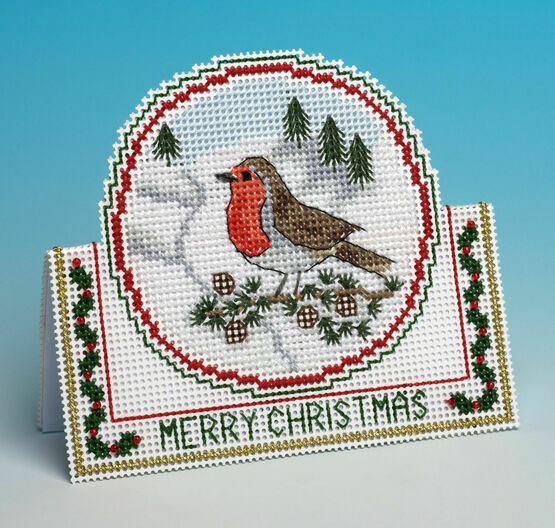 Christmas Robin 3D Cross Stitch Card Kit