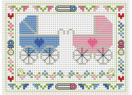 Welcome Twins Cross Stitch Card Kit