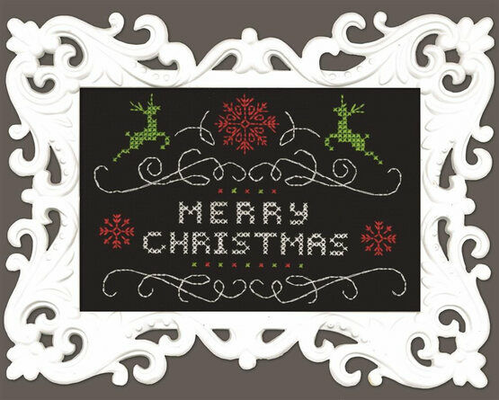 Merry Christmas Chalkboard Cross Stitch Kit With Frame