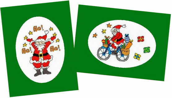 Christmas Post & Jolly Ho! - Set of 2 Cross Stitch Card Kits