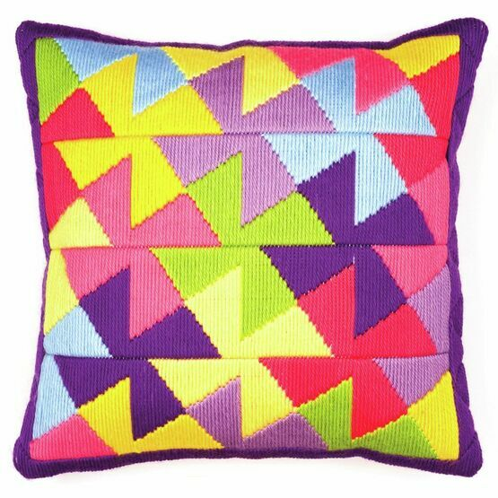 Bold Geometric Style 3 Long Stitch Cushion Panel Kit