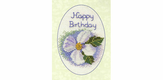 White Clematis Cross Stitch Greetings Card Kit