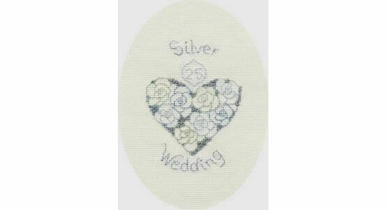 Silver or Diamond Wedding Anniversary Cross Stitch Card Kit