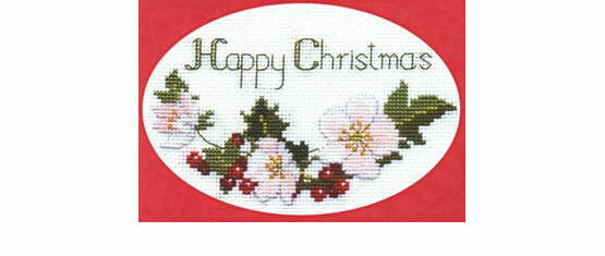 Christmas Roses Cross Stitch Card Kit