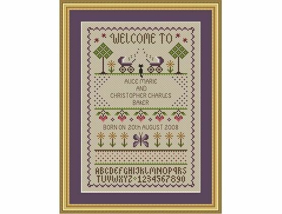 Welcome To Twins Cross Stitch Birth Sampler Kit